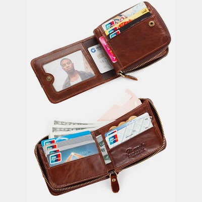 RFID Large Capacity Vintage Short Wallet