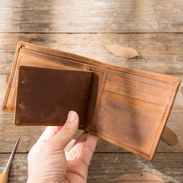 Large Capacity Real Leather Retro Handmade Slim Wallet