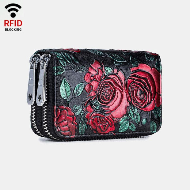 Rfid Genuine Leather Short Zipper Coin Purse Wallet
