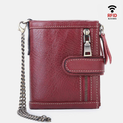 RFID Multi-slot Trifold Vintage Wallet With Chain