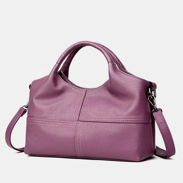 Soft Leather Handbags Stitching Solid Large Capacity Shoulder Bag