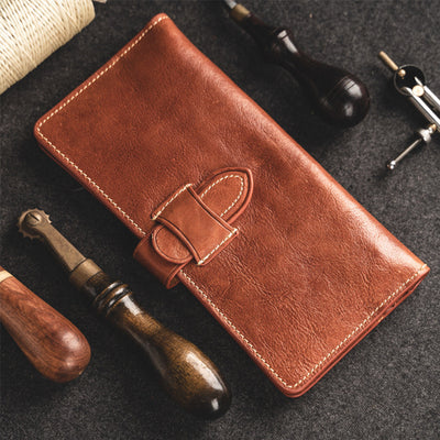 Genuine Leather Retro Long Wallet