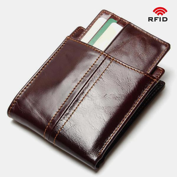 Real Leather RFID Wallet With Removable Card Case