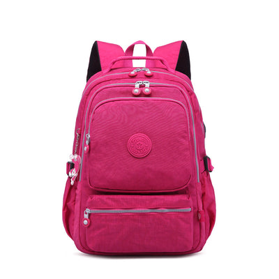 Multi-pocket Waterproof USB Charging Port School Travel Backpack
