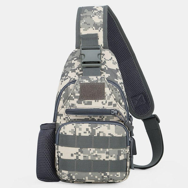 Camouflage Outdoor Sling Bag With USB Charging Port