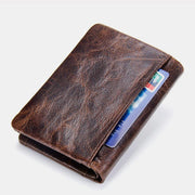 High Capacity Vintage Leather Trifold Wallet