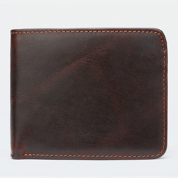 RFID Vintage Genuine Leather Slim Wallet