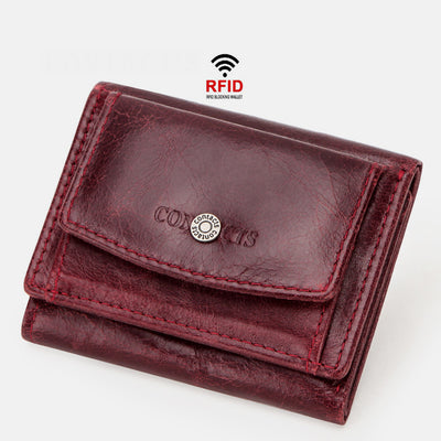 Genuine Leather RFID Anti-theft Small Wallet