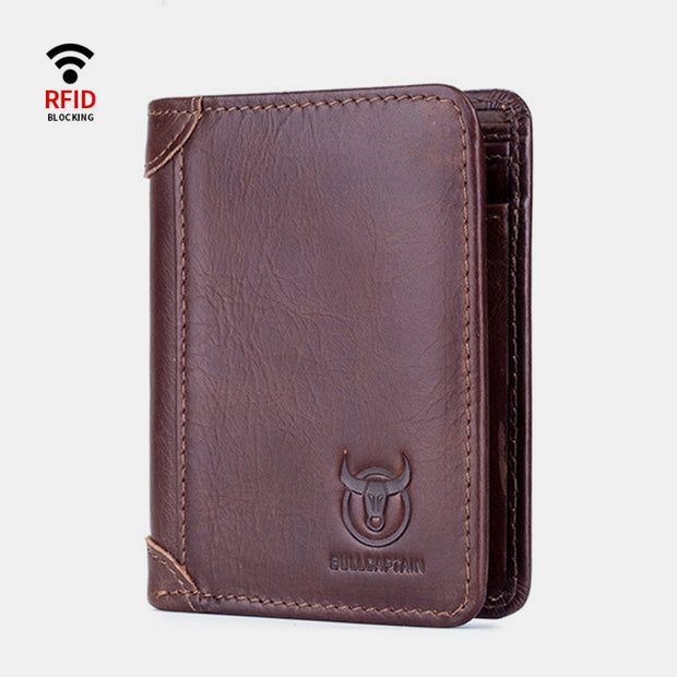 RFID Large Capacity Genuine Leather Bifold Wallet