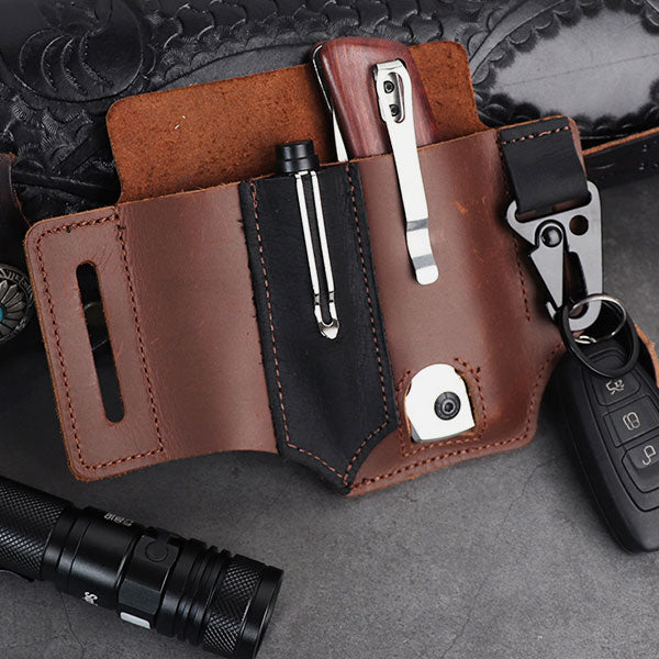 Multifunctional Outdoor EDC Tactical Pen Tool Leather Case Pocket