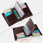 RFID Vertical Genuine Leather Multi-Slot Wallet