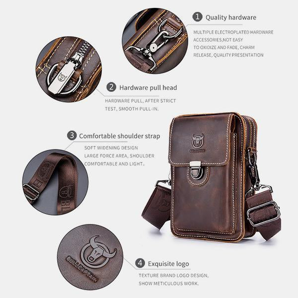 Genuine Leather Multifunctional Waist Messenger Bag