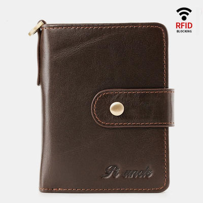 RFID Blocking Small Leather Wallet