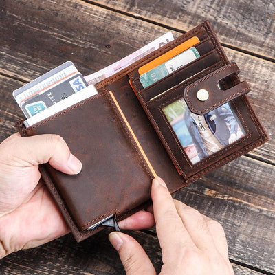Multifunctional RFID Retro Wallet With Card Case