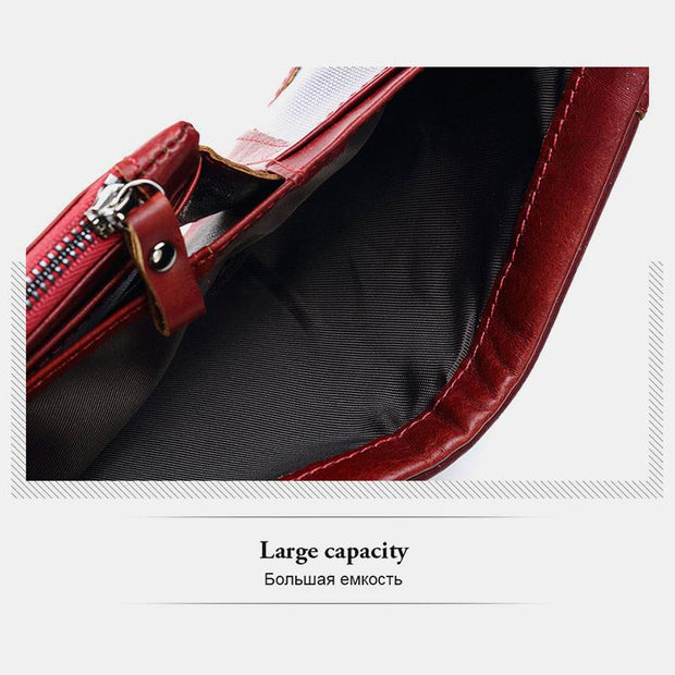High Capacity Genuine Leather Vintage Red Purse