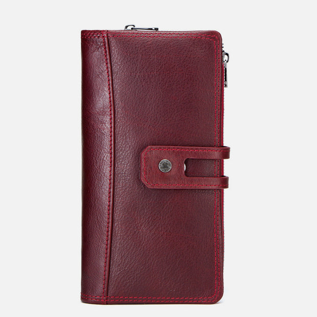 Genuine Leather Multifunctional Trifold Buckle Purse(get 15% off by code:EC15 )