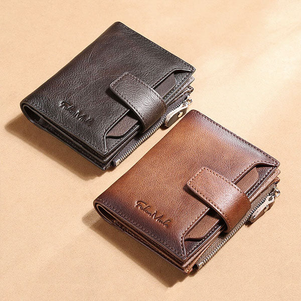 RFID Anti-Theft Multi-Card Slots Large Capacity Genuine Leather Wallet