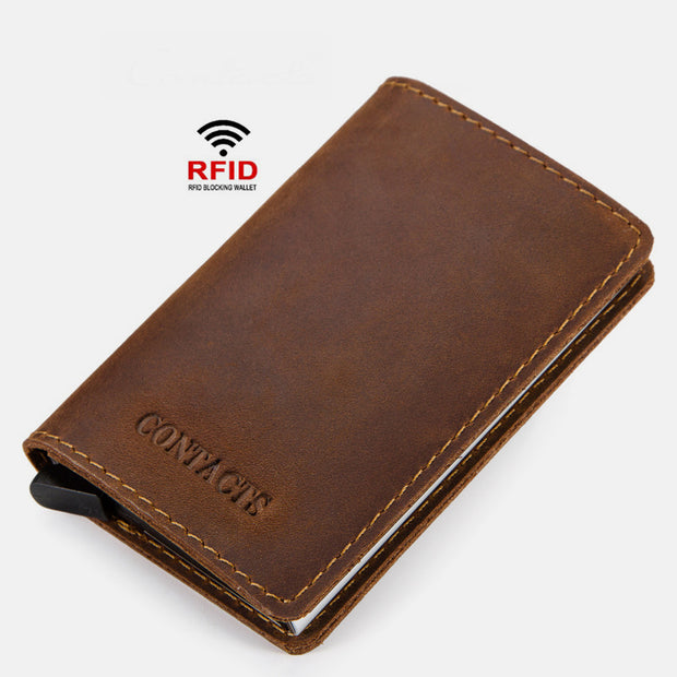 Genuine Leather RFID Wallet With Automatic Pop Up Card Case