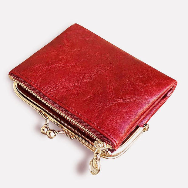 Multifunctional Bifold Vintage Kiss Lock Coin Purse