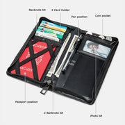 Real Leather Multifunctional Long Wallet Passport Holder