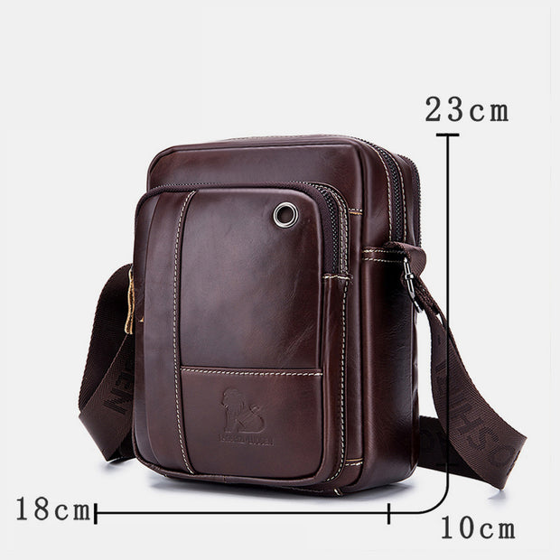 Genuine Leather Wear-resistant Vintage Crossbody Bag