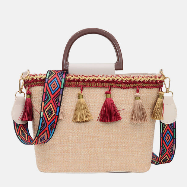Large Tassel Straw Handbag Crossbody Bag
