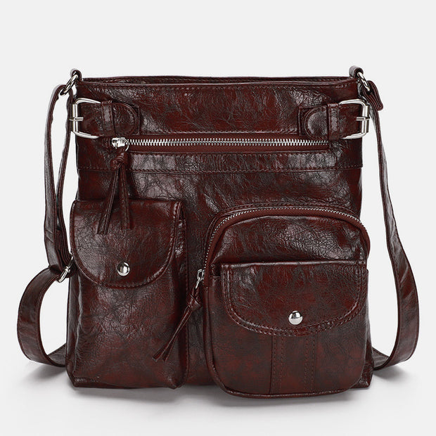 Large Capacity Solid Color Crossbody Bag