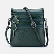 Genuine Leather Triple Compartment Crossbody Bag