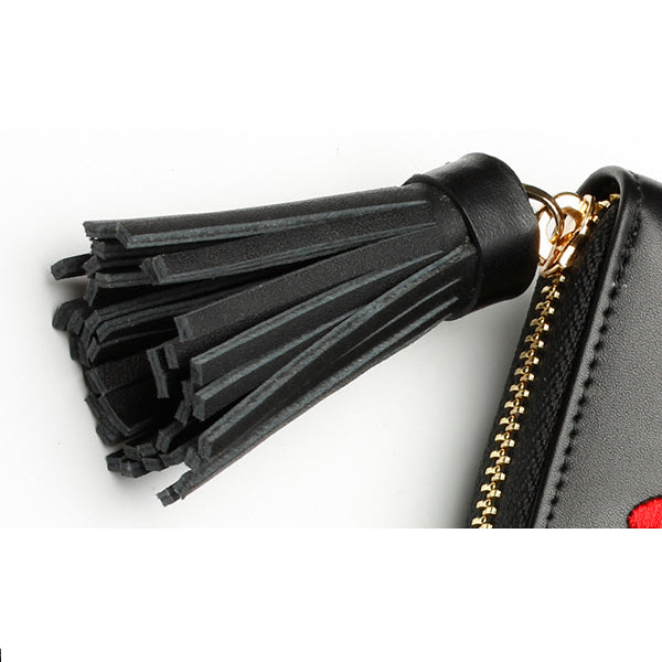 Genuine Leather Embroidery Tassel Wallet