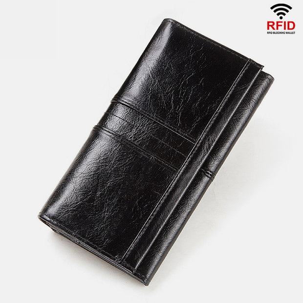 RFID Blocking Anti-theft Genuine Leather Wallet
