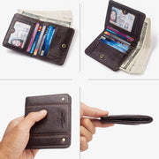 Vintage Genuine Leather Mini Card Holder Men Wallet