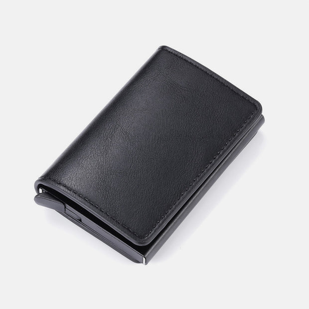 RFID Credit Card Holder With Hand-Push Metal Card Case