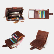 12 Card Slots Genuine Leather RFID Anti theft Short Wallet