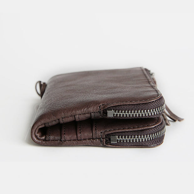 Genuine Leather Multi-Slot Vintage Tassel Wallet