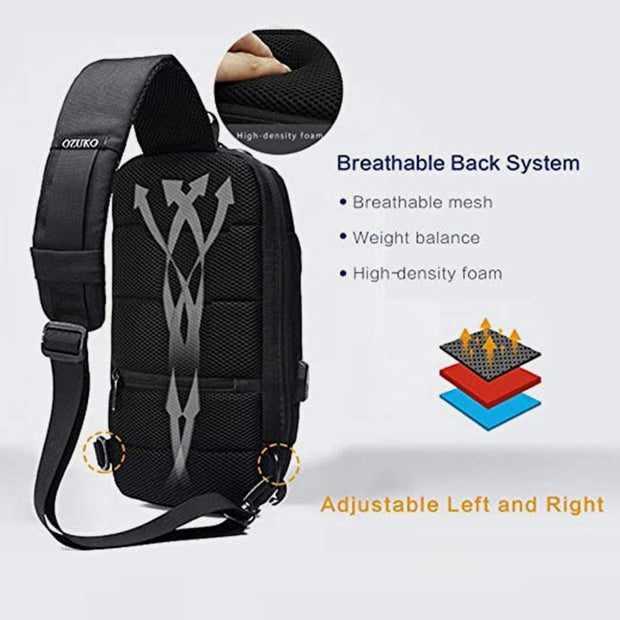 Anti-theft Waterproof Casual Sling Bag Chest Bag With Safety Lock