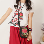 Ethnic Embroidered Multi-pocket Crossbody Bag Cellphone Pouch