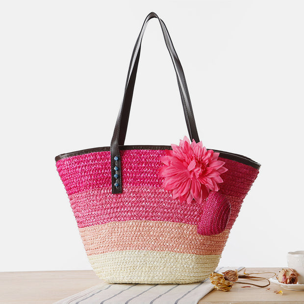 Summer Flower Straw Woven Beach Bag Travel Tote Bag