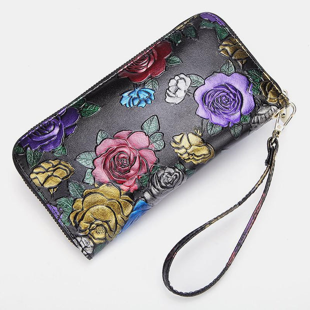 Flowers Printing Genuine Leather Long Purse