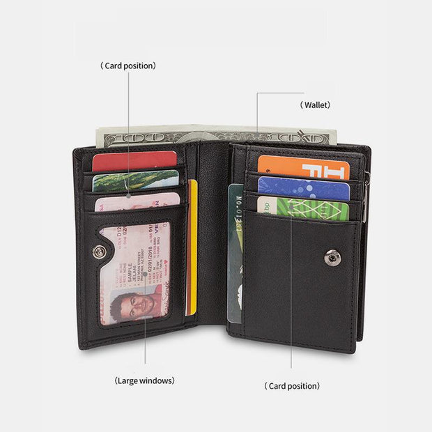 RFID Blocking Short Leather Wallet