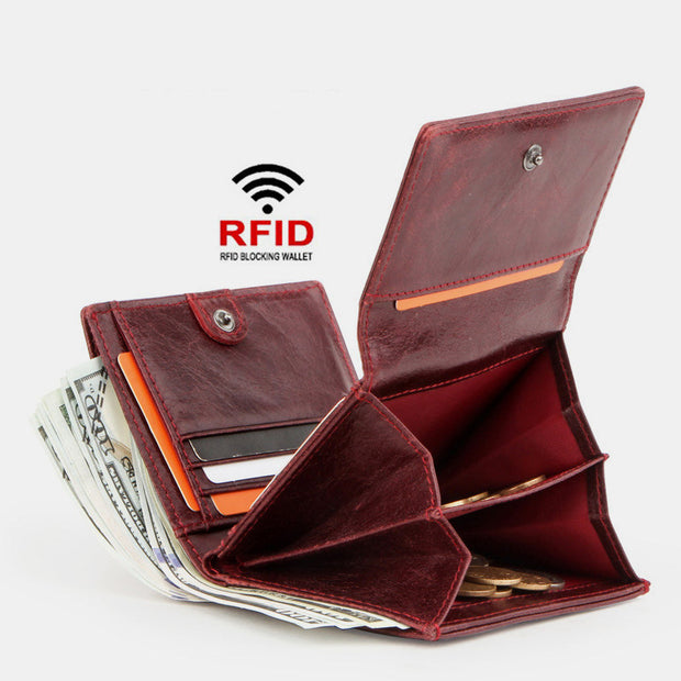 RFID Anti-Theft Genuine Leather Wallet