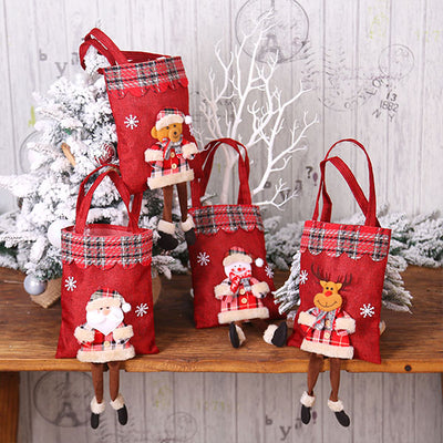 Christmas Burlap Gift Bag Candy Bag Tote Bag