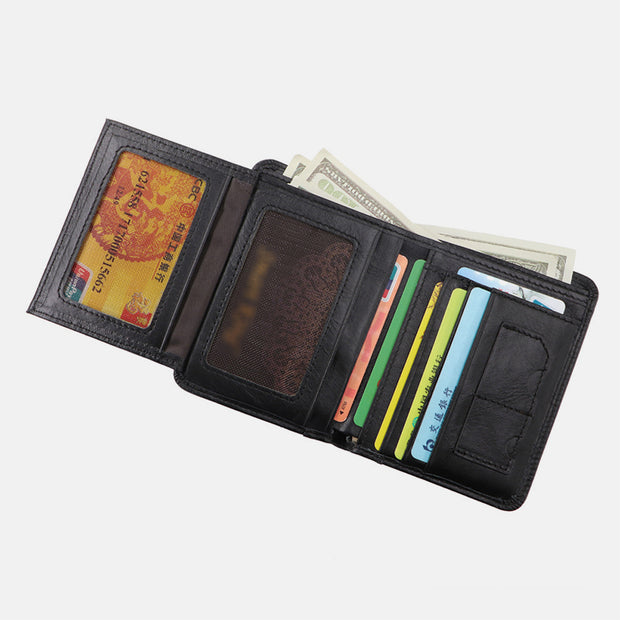Large Capacity RFID Bifold Real Leather Wallet
