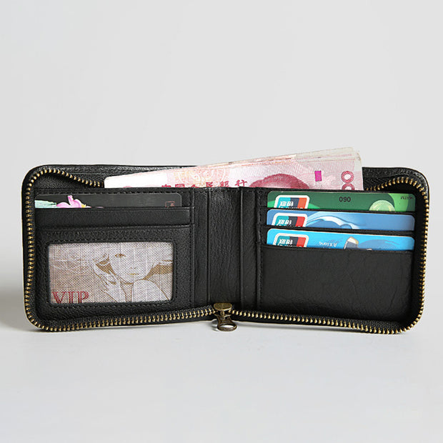 Genuine Leather Vintage Small Bifold Zipper Wallet