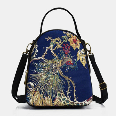 Ethnic Embroidered Sequined Canvas Phoenix Handbag Crossbody Bag