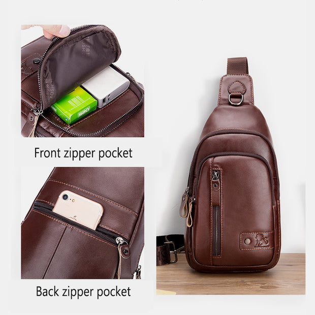 Genuine Leather Large Capacity Anti-theft Sling Bag