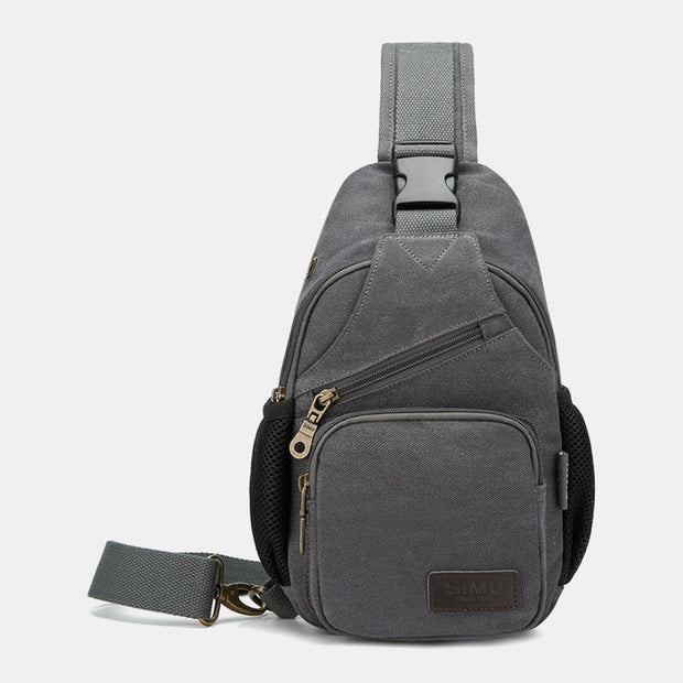 Canvas Outdoor Casual Large Capacity Crossbody Bag Chest Bag