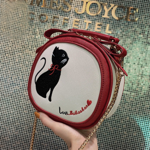 Cat Printing Small Circle Crossbody Bag