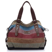 Color Block Stripe Vintage Shoulder Bag