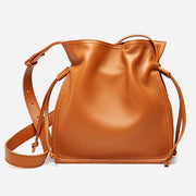 Genuine Leather Drawstring Bucket Bag Crossbody Purse