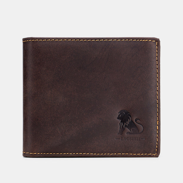 Genuine Leather RFID Blocking Bifold Vintage Wallet